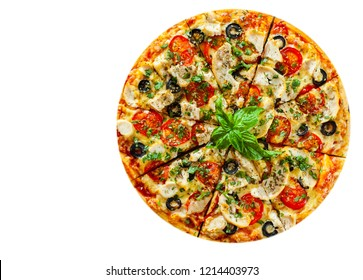 Pizza with Chicken meat, Mozzarella cheese, tomato, olive. Italian pizza isolated on white background. with copy space. top view