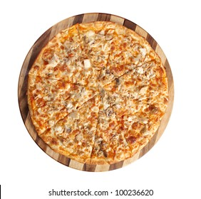 Pizza with chicken and mushroom. italian kitchen. Studio