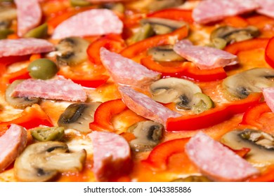 Pizza with closeup background