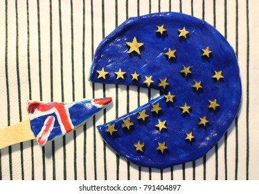 Pizza in the colors of the flag of the United Europe and  Great Britain,concept  disintegration European Union