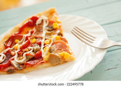 pizza cut italian food baked and served
