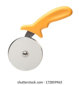 Pizza cutter on white background