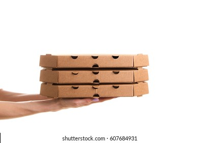 Pizza delivery, pizza box with hand, isolated on white background