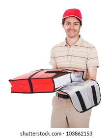 Pizza delivery boy with thermal bag. Isolated on white