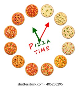Pizza delivery company logo template with sample text. Clock made by many pizzas. Snack time concept, example for box. Food watch with hour and minute hands in italian colors.
