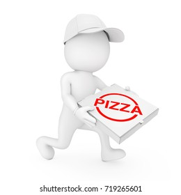 Pizza Delivery Concept. 3d Character Pizza Dealer with Pizza Box in Hands Runs to Hurry to Deliver a Pizza on a white background. 3d Rendering