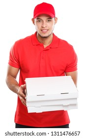 Pizza delivery latin man boy order delivering job deliver box young isolated on a white background