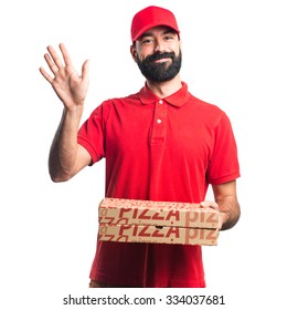 Pizza delivery man saluting