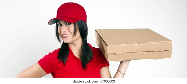 Pizza Girl Red Uniform Package Delivery Woman Food Drive Brown Box Shipment