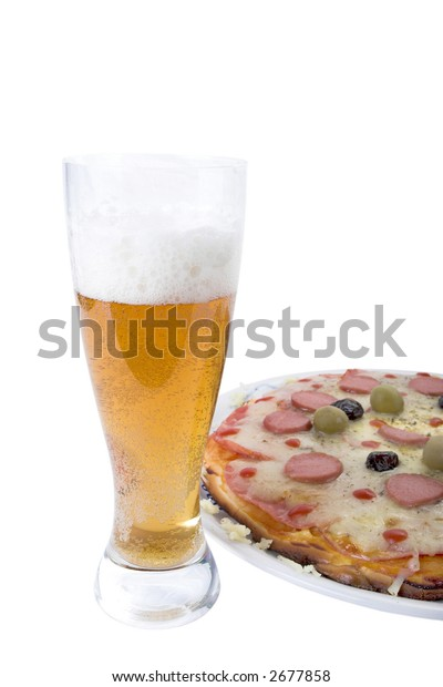 Pizza and glass of beer isolated on white