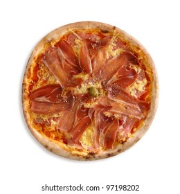 Pizza with ham and cheese on white background.