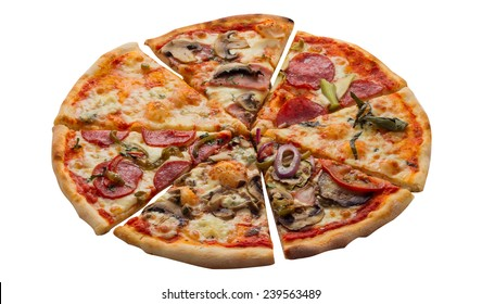 Pizza with ham, sausage, meat, pepper and olives as food background or texture. Isolated on white background
