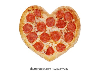 pizza heart isolated. pepperoni concept for valentines day 14 febr