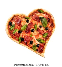 Pizza heart love Valentine's Day romantic Italian restaurant dinner food. Prosciutto, olives, tomatoes, parsley, basil and mozzarella cheese meal on black