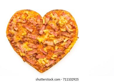 Pizza heart shape isolated on white background