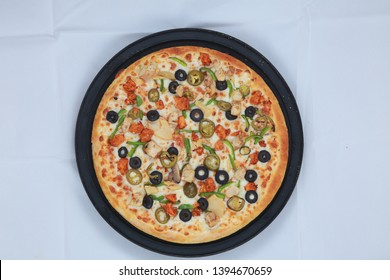 Pizza isolated on white background. Top view