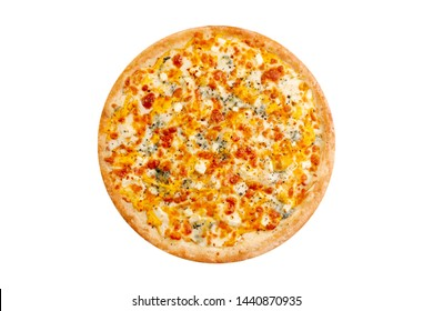 Pizza isolated on white background.Hot fast food 4 cheese with mozzarella and blue cheese. Food Image for menu card, web design, site, shop, advertising or delivery. High quality retouch and isolation