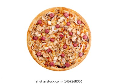 Pizza isolated on white background.Hot fast food with cheese, bavarian chiken, onion. Food Image for menu card, web design, site, shop or delivery. High quality retouch and isolation.