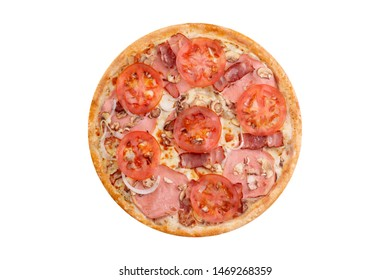 Pizza isolated on white background.Hot fast food with cheese, tomatoes and bacon. Food Image for menu card, web design, site, shop or delivery. High quality retouch and isolation.