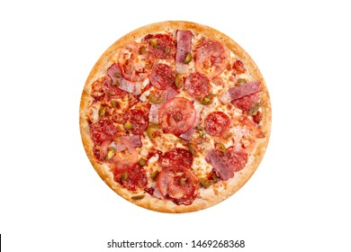 Pizza isolated on white background.Hot fast food with cheese, tomatoes and jalapenos. Food Image for menu card, web design, site, shop or delivery. High quality retouch and isolation.