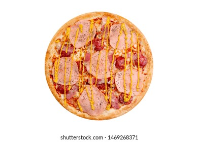 Pizza isolated on white background.Hot fast food with cheese, ham and mushrooms. Food Image for menu card, web design, site, shop or delivery. High quality retouch and isolation.