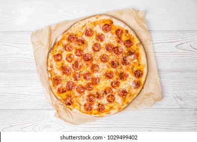 pizza itaian food pepperoni white background