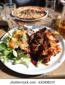Pizza and lasagna for lunch at a ski area  near Avoriaz, France