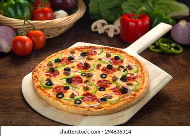 Pizza made fresh authentic recipe ingredients homemade home cooked healthy organic toppings
