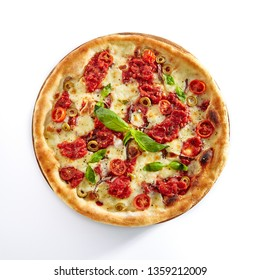 Pizza Margarita or Margherita with Cherry Tomatoes, Mozzarella Cheese and Tomato Sauce Isolated on White Background. Traditional Italian Whole Yeasted Flatbread on Wooden Plate Baked in Oven Top View