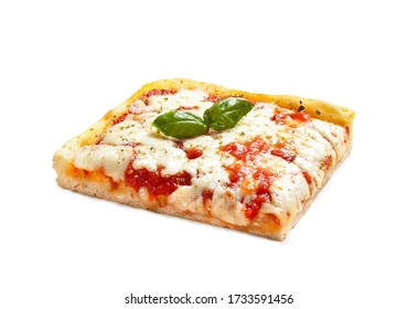 """Pizza """"Margherita"""" Made in Italy –Slice (""""Trancio"""") with Basil Leaves, Mozzarella Cheese and Tomato Sauce – Isolated on White Background"""
