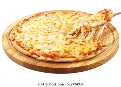 Pizza Margherita, mozzarella isolated on white background.