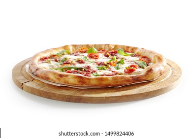 Pizza Marinara with Anchovy, Tomatoes, Garlic, Olive Oil and Oregano Isolated on White Background. Traditional Italian Whole Flatbread on Wooden Plate Close Up