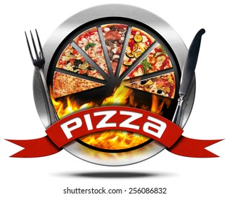 Pizza - Metal Icon with Cutlery. Metal icon or symbol with slices of pizza, flames, red ribbon with text pizza and silver cutlery. Isolated on white background