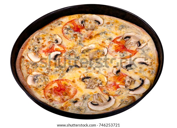 Pizza in metal pan isolated on white background