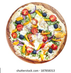 Pizza with mozzarella, pepper and olives