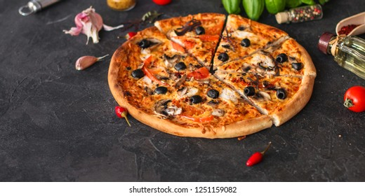 pizza, mushrooms, olives, chicken, tomato sauce, cheese, (pizza ingredients). hot pizza. food background. copy space