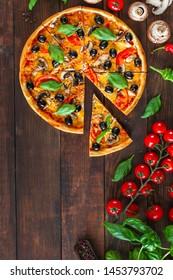 pizza, mushrooms, olives, chicken, tomato sauce, cheese, (ingredients). hot pizza. Top view. copy space