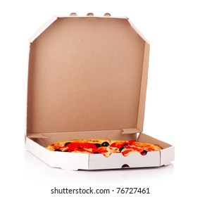 Pizza with olives in box isolated on white