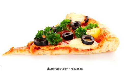 Pizza with olives  isolated on white