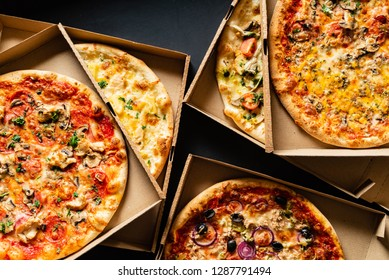 pizza on the black background