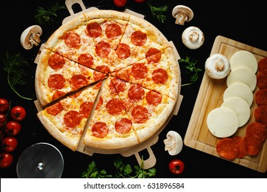 Pizza on black background