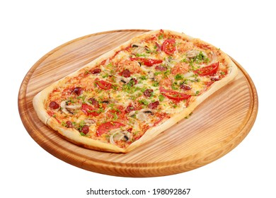 Pizza   on a cutting board