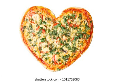 Pizza on the heart shaped pizza for Valentine's Day for your loved one, on white background isolated