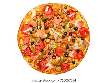 Pizza on white background.