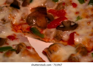 Pizza on white plate