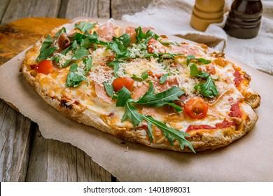 pizza with Parma ham on the Rome Dough, pinsa