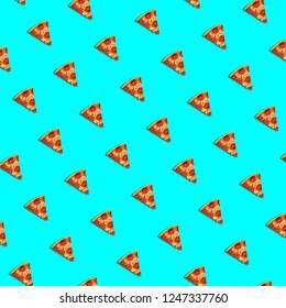Pizza pattern on blue background.