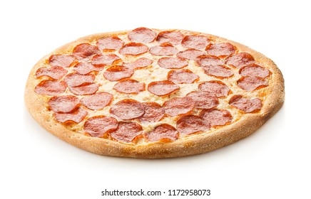 Pizza peperoni on a white background