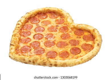 Pizza Pepperoni Heart shape with mozzarella cheese, salami, template for your design and menu of restaurant, isolated white background. Valentine day pizza concept.