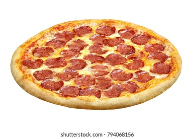 Pizza pepperoni with mozzarella cheese, salami, template for your design and menu of restaurant, isolated white background.